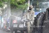 Lực lượng phòng hóa phun khử trùng một số khu vực tại Hải Phòng