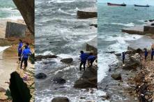 Nhân viên quán cà phê ở TP. Vũng Tàu vứt hàng chục bao tải rác xuống biển