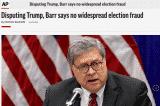 Bộ Tư pháp Mỹ phản ứng lại bài báo của AP, nói chưa hoàn tất điều tra gian lận bầu cử